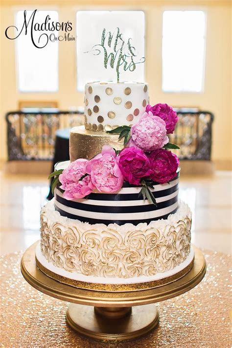 Kate Spade buttercream inspired wedding cake with fondant