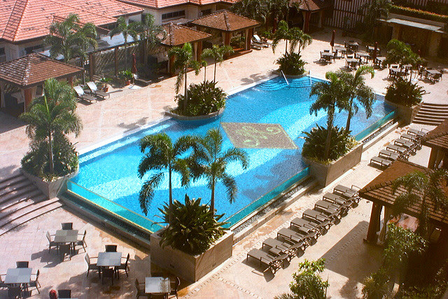 """View of pool from the presidential suite """"The Mansion"""""""
