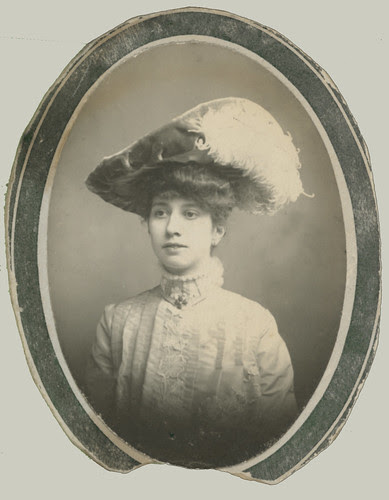 Oval portrait with hat