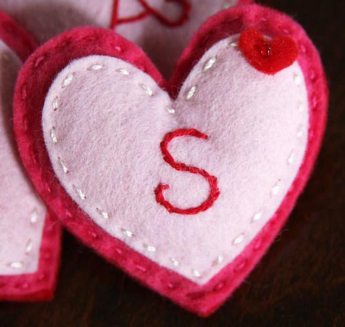 Felt Valentine's Heart badge detail