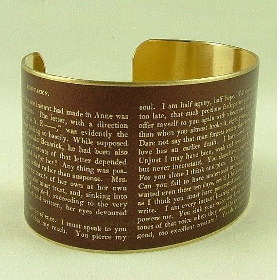 Captain Wentworth's Letter - Persuasion Literary Quote Brass Cuff Bracelet- Jane Austen Jewelry