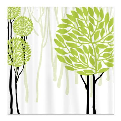 Makanahelecom Pretty Modernist Green Tree 4b Shower Curtain