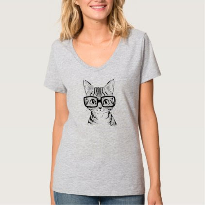 Unique Hand Drawn Nerdy Cat Art Women's V-neck Tee