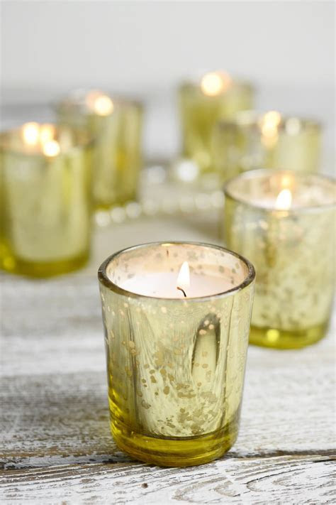12 Pre filled Candles Gold Mercury Glass Votive Holders