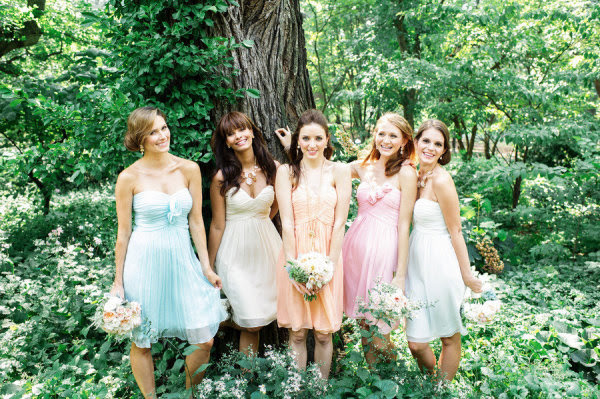Mix and Matched Bridesmaid Dresses for Destination Wedding