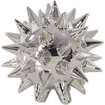 Set of 3 Modern Ceramic Spiked Star Figurine Silver - Olivia & May