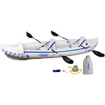Sea Eagle 370 Pro 3 Person Inflatable Portable Sport Kayak Canoe Boat w/ Paddles by VM Express