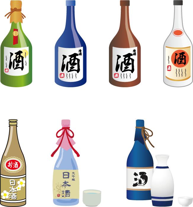 フリーイラスト 7種類の日本酒のセットでアハ体験 Gahag 著作権