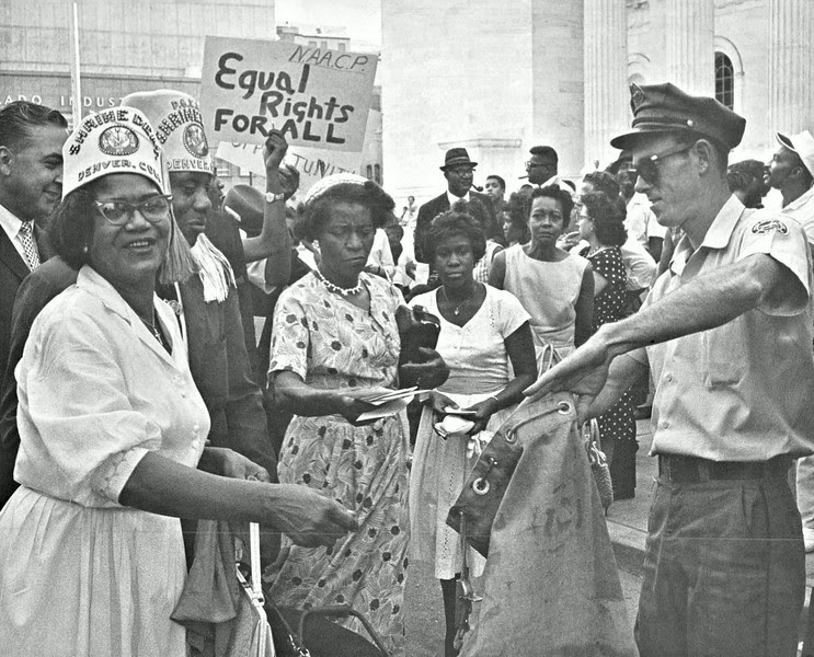 Description of  JUL 28 1963 - Denver Civil Rights Marchers Deposit Letters to Congress. Some 3,000 messages were mailed urging passage of President Kennedy's program. (Duane Howell /The Denver Post)