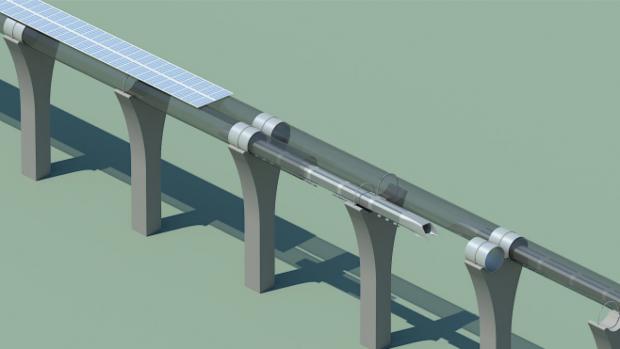 Des panneaux solaires seraient disposés sur le dessus des tubes Hyperloop