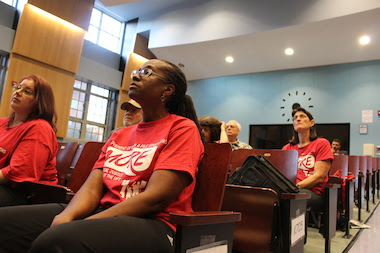 Parents and union members came out on Monday night to a public hearing discussing Success Academy's application to open charter schools in three Brooklyn districts.