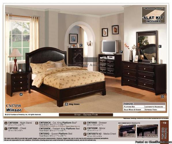QUEEN Frame CM7058Q 4pc Bedroom set black espresso brown leather ...