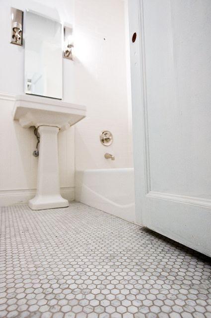 marble hex tile floor