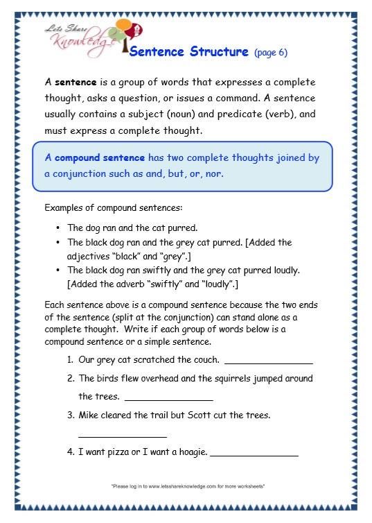 grade 3 grammar worksheets Sentence Structure 06