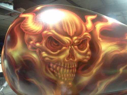flaming demon skull gas tank