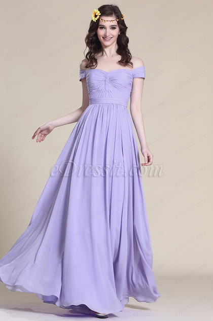 Off Shoulder Lavender Bridesmaid Dress Prom Dress