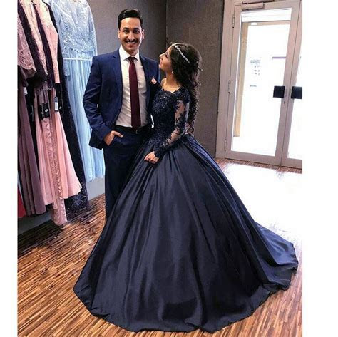 Princess Embellished Long Sleeves Navy Blue Prom Dresses