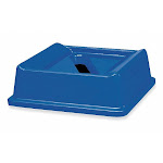 Untouchable Series Paper Slot Recycling Top, Square, Dome, 35 gal, Blue