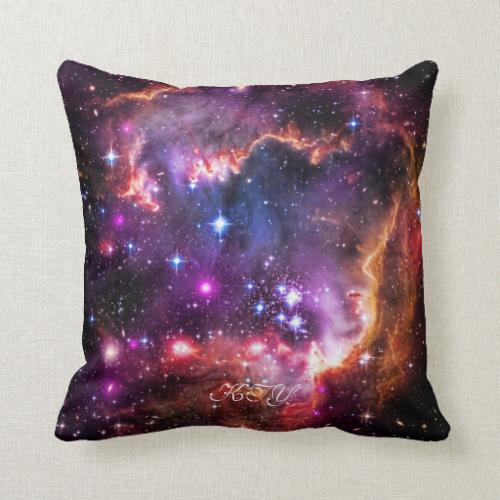 Monogram Starry Wingtip of Small Magellanic Cloud Throw Pillow