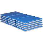 """ECR4Kids Value 3-Fold Daycare Rest Mat, Folding Nap Time Mat, 2"""" Thick, 5-Pack, Blue and Grey"""