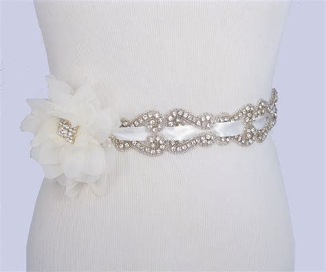 Crystal Rhinestone Wedding Dress Sash Satin By