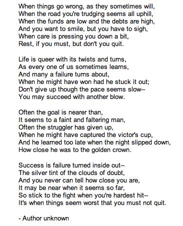 Dont Quit Poem