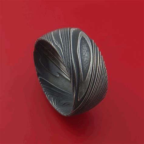 Wide Kuro Damascus Steel Ring Custom Made Men's Wedding