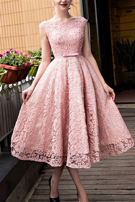 Lace prom dress, fashion prom dress, cute pink lace short