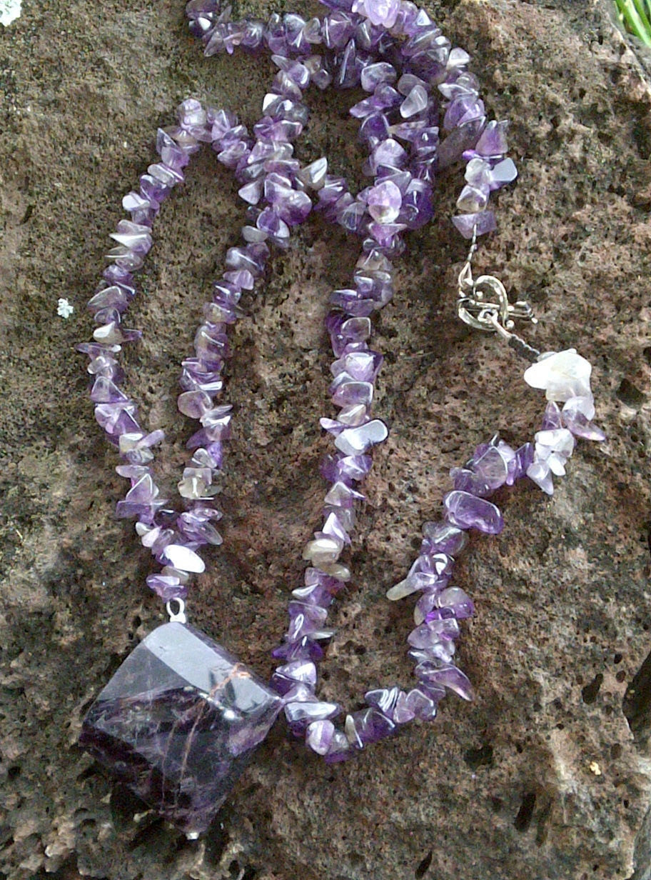 Amethyst Gemstone Necklace with Solid Amethyst Pendant