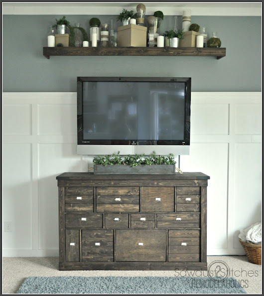 Gorgeous Pottery Barn Style IKEA Media Shelf Makeover - Giddy Upcycled