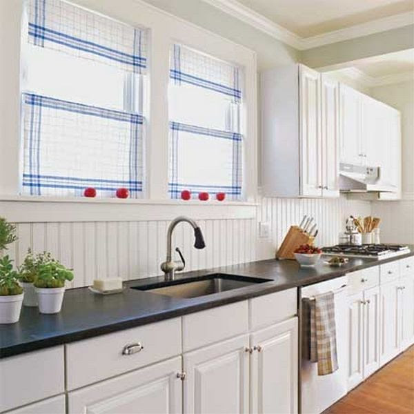 White Beadboard Kitchen Cabinets With Beadboard Backsplash