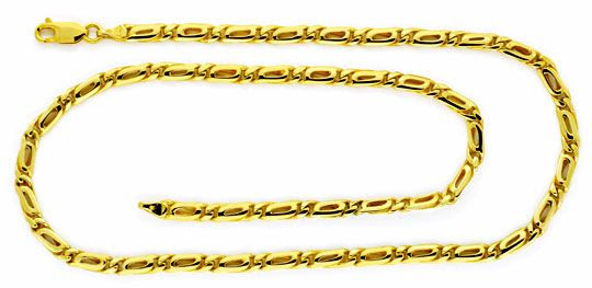 Foto 1, Massive Goldkette Pfauenauge Tigerauge Gelb-Gold Luxus!, K2123