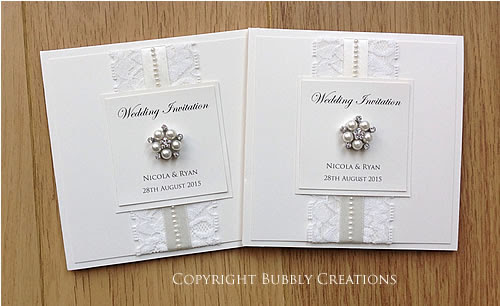 Lace and Pearl Save the Date Cards and Wedding Invitations in Ivory