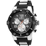 Invicta Men's 22235 Speedway Reserve Black and Silver Polyurethane and Stainless Steel Watch - Black and Silver