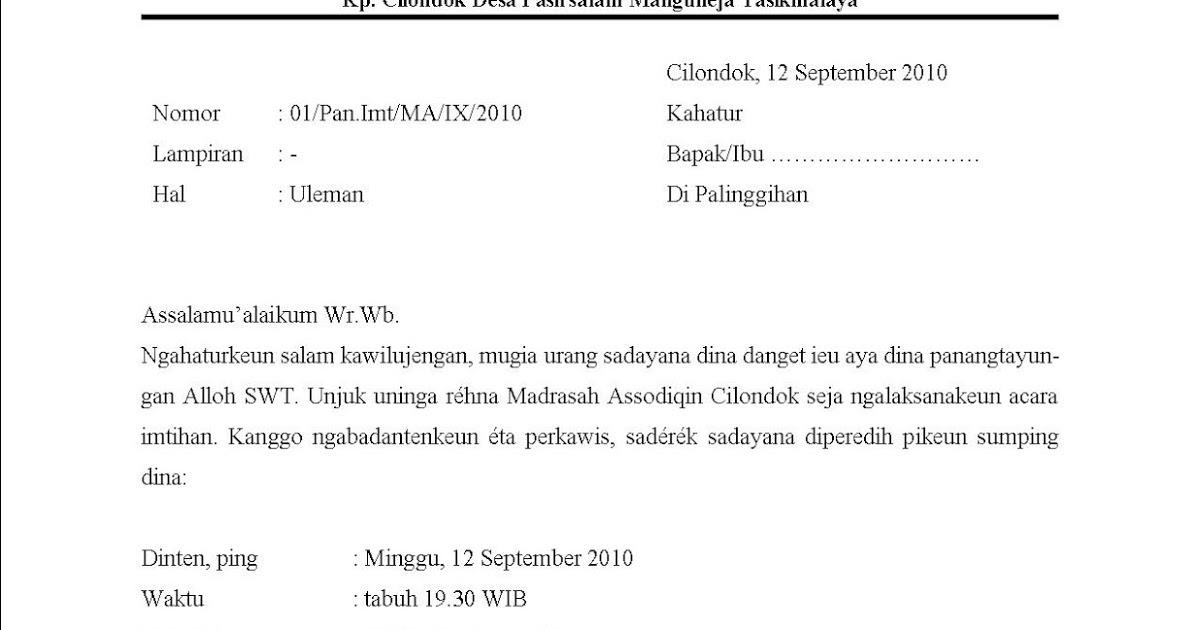 Contoh Surat Undangan Perhpisaha N Bahasa Sunda Learneasysite