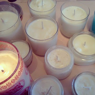 candles - all soy, scented with peppermint and eucalyptus essential oils