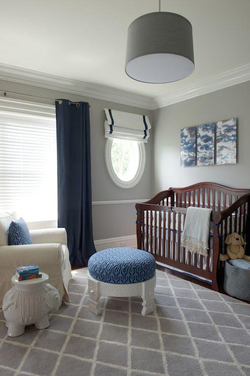 Boy's gray and navy nursery   Nightingale Design