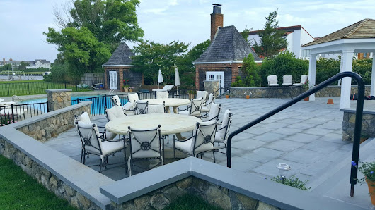 "CastroStoneworks Inc on Twitter: ""Bluestone patio with Natural stone Veneer walls """