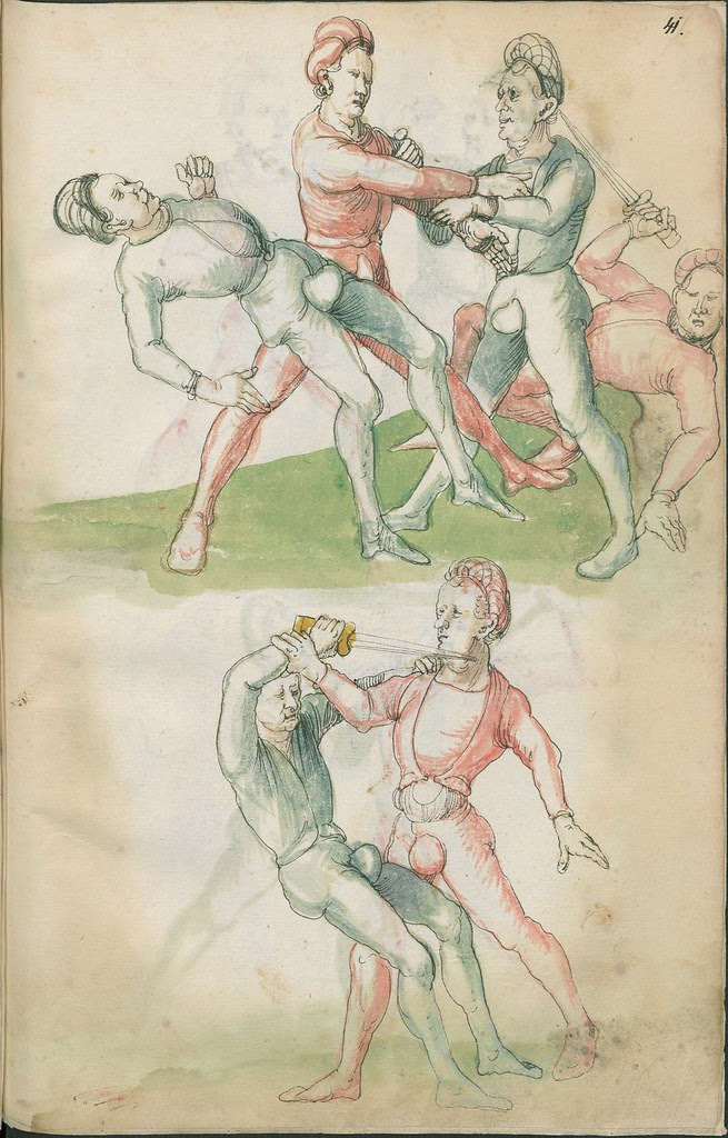 16th century sword fight manuscript drawing - Combat training 1