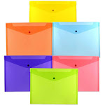 JAM - Document wallet - Letter - blue, yellow, purple, red, green, clear (pack of 6)