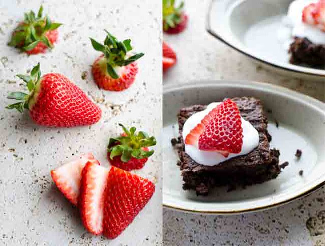 Fudgy Namaste Brownies with Strawberries by Mary Banducci