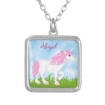 Cute Personalized Pink Unicorn Necklace for Girls