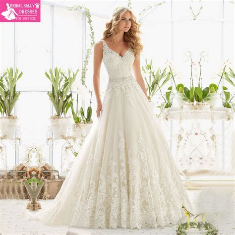 New Design A Line Lace Wedding Dresses 2016 V Neck Beaded