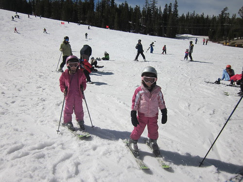 Ashley and Lizzy skiing