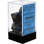 Chessex: Gemini Black and Blue w/ Gold - Polyhedral Dice Set (7) - CHX26435