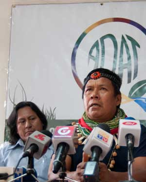 Emergildo Criollo speaking at the press conference