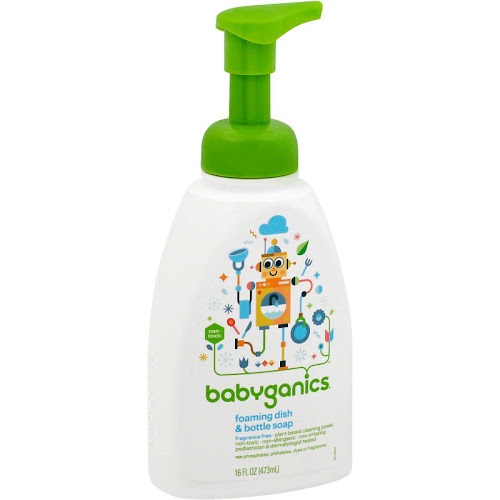 BabyGanics Foaming Bottle & Dish Soap, Fragrance Free - 16 oz pump bottle