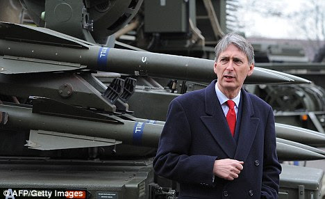 Defence Secretary Philip Hammond stands in front of a Rapier System ground-to-air missile launcher during a visit to RAF Waddington near Lincoln