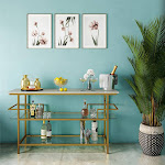 CosmoLiving Barlow Console Unit, Dining and Living Room, Soft Brass