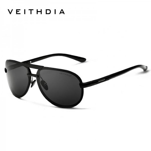Veithdia Aluminium Mens Sunglasses Polarized Male Eyewear Unisex Adult Classic Pilot Aviator Full Black